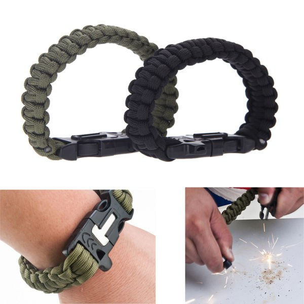 Bransoletka paracord 3w1 ARMY GREEN